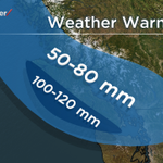 Heavy rain on the way for the South Coast. Hardest hit areas will be W & N Vancouver Island with 100-120 mm possible. http://t.co/k3mlHkbGYu