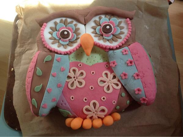 Faith's birthday cake - based on @LindysCakes patchwork owl. Not as good as the one in the book, but Faith loves it! http://t.co/rp6iHjiXpz