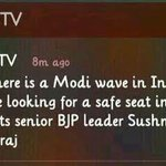 RT @IndianMaverick: Rumour being propogated by @NDTV. Clearly saying tht @SushmaSwarajbjp has tweeted smeting. FALSE! #ShameOnNDTV http://t.co/SHxirX5eHa""