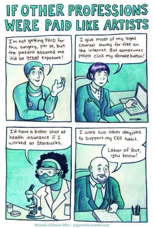 If other professions got paid as #artists all themselves to be #amwriting #humor > http://t.co/5iSVzrGsSk