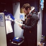Scotlands Rory Lamont visits the changing rooms, and his brothers booth, ahead of todays game. #backingblue http://t.co/gA6fK7TtWh