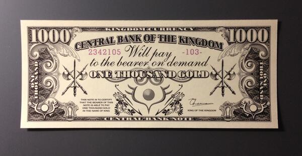 春原ロビンソン先生(  )著の『戦勇。』仕様の架空紙幣を作りました。通貨単位は決めていらっしゃらないそうなので、勝手にゴ