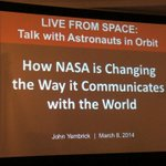 We're about to talk to astronauts orbiting the earth on the ISS. What are you doing? #SXSW2014 #MashSXSW #NASASXSW