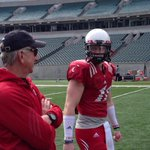 RT @TomGroeschen: Tommy Tuberville and #UC QB Gunner Kiel prepping for scrimmage at PBS #Bearcats http://t.co/oaLW4jrAju