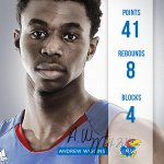 RT @KUHoops: Final stats for Andrew Wiggins, breaks career-highs in points, free-throws, blocks and steals. #kubball #wiggins http://t.co/mBuFEHgigs