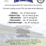 Fans of @telfordutd are out leafleting tomorrow to support the clubs push for promotion RT #come&help @telfordlive http://t.co/ulumpaKvHP