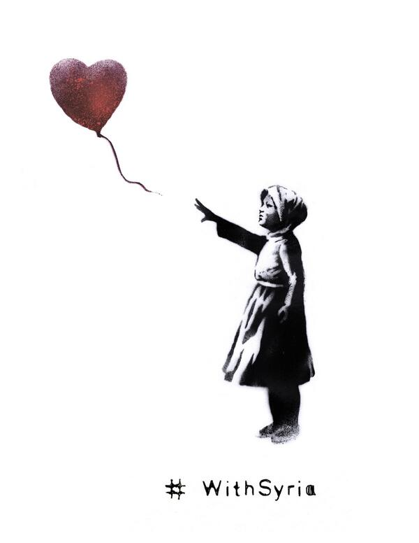 Famed street artist Banksy releases this iconic image for the 3rd anniversary of #Syria's uprising. #WithSyria http://t.co/DnrgXRMk0u