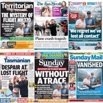 Australias Sunday newspaper front pages all feature the #MalaysiaAirlines lost flight #MH370 http://t.co/JNoPZP0tEJ