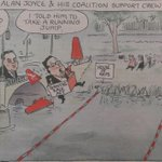 Alan Joyce and his Coalition Support Crew Matt Golding cartoon #auspol #insiders #Qantas http://t.co/pfbvdHpfcL