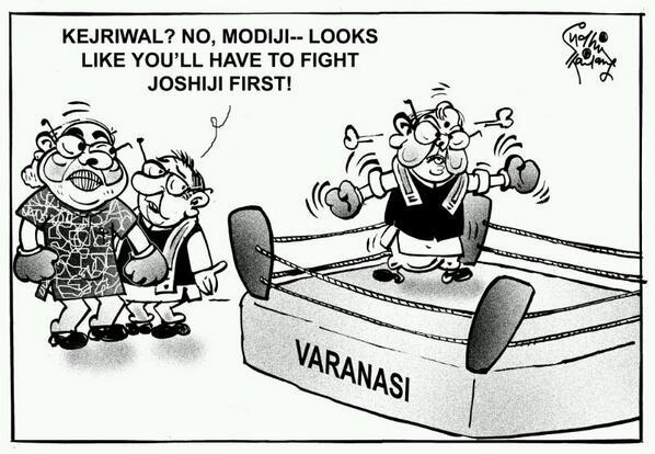 #Modi - #Varanasi battleground ! Cartoon by #SudhirTailang http://t.co/YH1hmOpdts