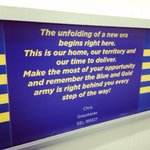 The last thing our players will see as they leave the sheds are our Member messages on the wall! #blueandgold http://t.co/PvP0BooGTa