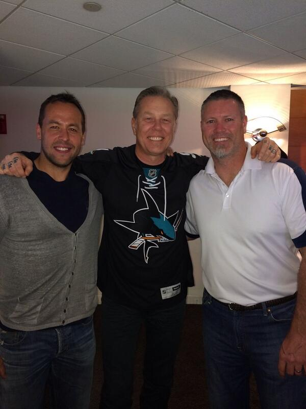 Hanging with old teammate Marco Sturm & James Hetfield from Metallica at the @SanJoseSharks game. http://t.co/1VpnamBpPd