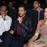 RT @vamsikaka: Superstar Rajinikanth, SRK and Deepika Padukone at #Kochadaiiyaan audio launch in Chennai.