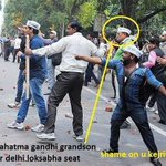 Times has really changed.Mahatama Gandhi for Non Violence...Grandson supporting Violence @KanchanGupta http://t.co/nrOjhTMMQM