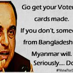 Shri @Swamy39 Ji,Dear Patriots, please make sure that your names are registered in Voters List.. #Vote4India http://t.co/Wt4HJb10wH