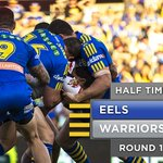 So HALF TIME and we're ahead 14-12 after the points to the Warriors. #NRLparwar #blueandgold http://t.co/HZYLimZM6F