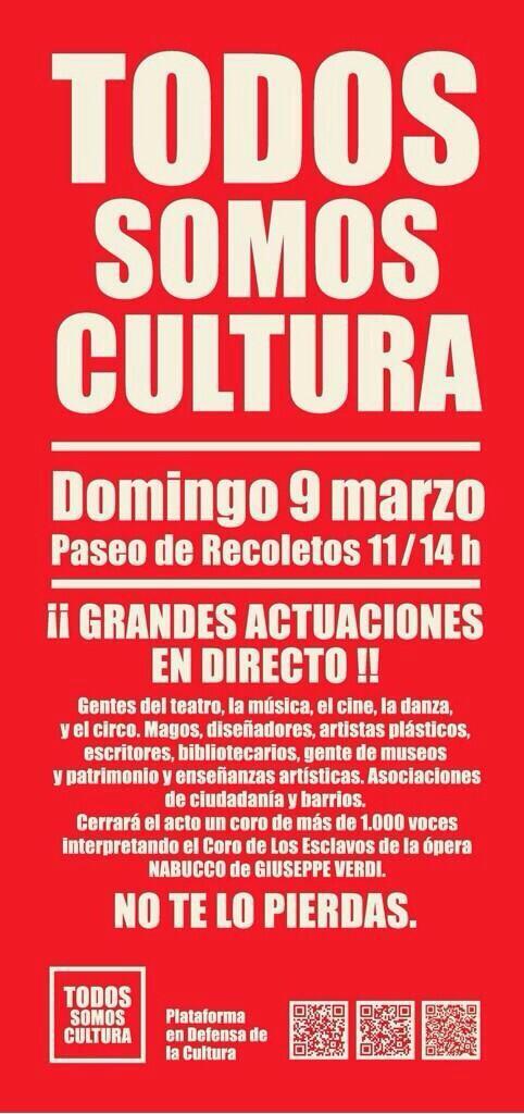 """+1""""@JuanDiegoBotto: Hoy #TodosSomosCultura porque la Cultura es un derecho que nos hace más libres, defiéndela. http://t.co/rDC8sue4B2"""""""