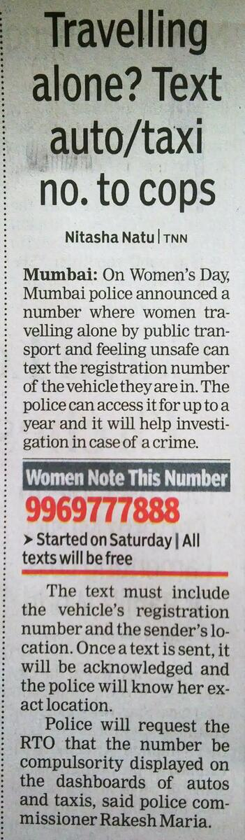 Ladies of Mumbai!! Please save this number! http://t.co/RRMVRsyXw3