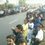 Srilankan cricket fans await Srilankan National cricket players who win the Asia Cup #Srilanka #Colombo http://t.co/a9CJezL89M