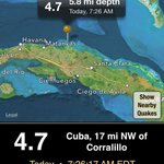 4.7 mag #earthquake north coast of #Cuba this morning felt weakly in the #Florida Keys. #flwx http://t.co/SuqwosreNJ