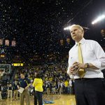 Great pic of John Beilein rocking out during Michigans postgame celebration last night (via @saccoPhotograph). http://t.co/KB0GBeEuSX