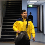 The #mcfc team have arrived. Here's a smiling @aguerosergiokun ahead of today's game. #cityvwigan http://t.co/G1HRLedU4n