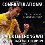 Congratulations Datuk @Lee_C_Wei! You have done it again. Were all proud of you! #AllEngland2014 #AllEnglandFinal http://t.co/yYeN2db6dL