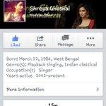 RT @SG_instant: Bdw @shreyaghoshal wohooooooo **15 MILLION** Likes on #FB #Congratulations #SGrocks #TheSGpower #WeLoveSG #SGarmy :* http:/…