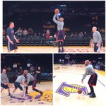 ":(""@okcthunder: More from the floor: Derek Fisher warms up in LA. #Thunder vs @Lakers #WeAreThunder http://t.co/DnDbCkdyBy"""