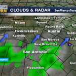 4pm-A few showers headed north into Central Texas this evening. #keyewx #austin Track on your keyetv wx app! http://t.co/fRrQ9T1gJW