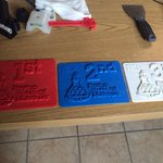 The trophies printed by the 3D printer at Startup Weekend. @StartupMissoula http://t.co/qYTMgYzF7W
