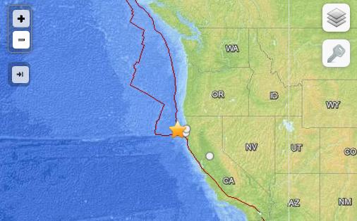Fuerte sismo de 6.9 grados se registra al norte de la costa de California. No hay amenaza de tsunami -USGS/PTWC http://t.co/iM3Ki9l2JL