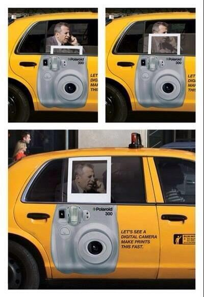 RT @Amscreen_Simon: Clever Polaroid advert side of yellow cab #advertising http://t.co/m4wKtfKWxy