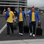 PHOTO: Heres Mathieu Flamini flanked by @MesutOzil1088 and @Podolski10 as they prepare to fly to Munich: http://t.co/yq85Q9ahBI
