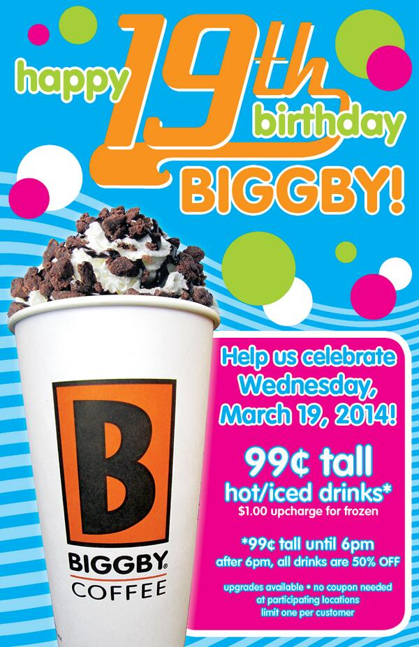 9 days until 99 ct tall Hot / Iced drinks all day until 6pm. We celebrate, you win on our BIGGBY B-Day pls forward http://t.co/7sxO1jlABw
