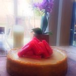 British Rhubarb and Ginger cheesecake #spring #colchester #Monday @HudsonandHud http://t.co/p6c1fCC1do