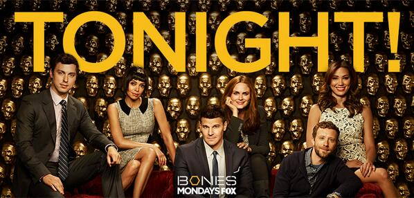 #bones returns TONIGHT at 8/7c on FOX! RT if you'll be watching. http://t.co/vFNF9zohTz