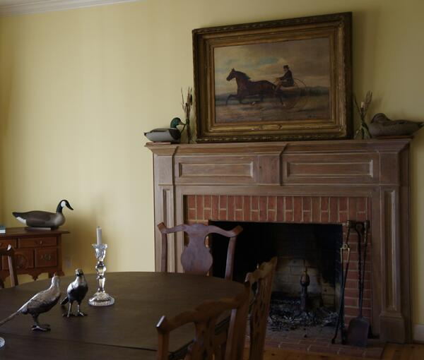Classic farmhouse dining room on the Maryland Eastern Shore. @benjamin_moore Hawthorne Yellow http://t.co/YP3ribENl4
