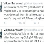 RT @ggiittiikkaa: More jokes about #AAPwedsAajTak. Kejri knew only 7-8 names of his 28 MLAs. Prasun edited this. Aukaat of MLAs = 0. http://t.co/u8Kgi8Ekfc