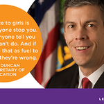 RT @arneduncan: I pledge to #banbossy and encourage girls to lead. Join me today: http://t.co/1ZFKqrRSaC http://t.co/EHvyOl7vQJ