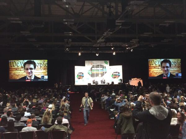 Edward Snowden, on a Google Hangout, apparently routed through 7 proxies. #sxsw http://t.co/kLEo0zDIvx