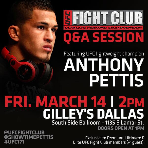 Come to our FC Q&A w/ @Showtimepettis @ Gilley's 3/14! Doors open @ 1! Want access? Sign up @ http://t.co/MedcFofYVu http://t.co/7QdFqG79mk