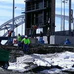 Work is underway today to put up the Ferris wheel at Modern Woodmen Park. The nearby bike path is closed this week. http://t.co/vsaORerCh3