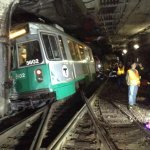 #MBTA Green Line trolley derailment- 6 injuried transported to local hosp. Bus diversion in place. http://t.co/sBQJwm8Qb6
