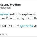 RT @shagil_: Ahmed Patil, closest aide of Sonia was travelling with Arvind Kejriwal, in his infamous private jet #AAPwedsAajTak http://t.co/w5CQgmbUNt