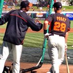 Quite a sight to see: Barry Bonds coaching Buster Posey. #sfgiants http://t.co/5bQzXfTxJK