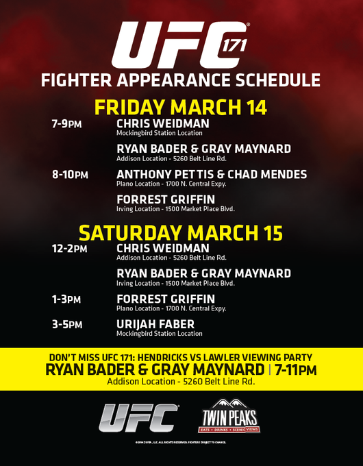 Hey Fight Club! Check out these Fighter Appearances after our Fight Club party on Fri & before #UFC171 on Saturday! http://t.co/eifDUnx463