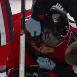 RT @BonksMullet: Blood warning: Cody Ceci after taking a Shea Weber slapshot to the face. http://t.co/j8WUYfdW8t