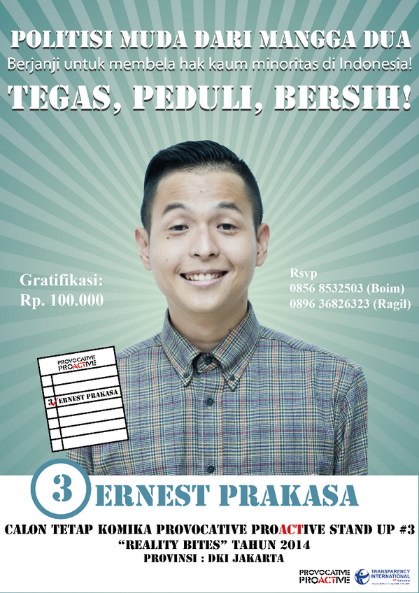 Berjanji untuk membelah hak kaum minoritas di Indonesia! @ernestprakasa Tegas, Peduli, Bersih! #PPStandup3 http://t.co/BuSOIUXmmg