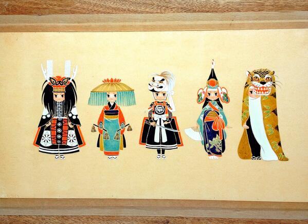 昨年、岩手の郷土芸能という絵を描きましたがいつか岩手県のお祭りや郷土芸能をテーマにした展示をしたいです。 http://t.co/s2oKdH5c26